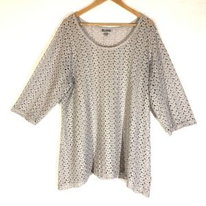 Silver Metallic Open Knit Crochet Cover Up Top 3X